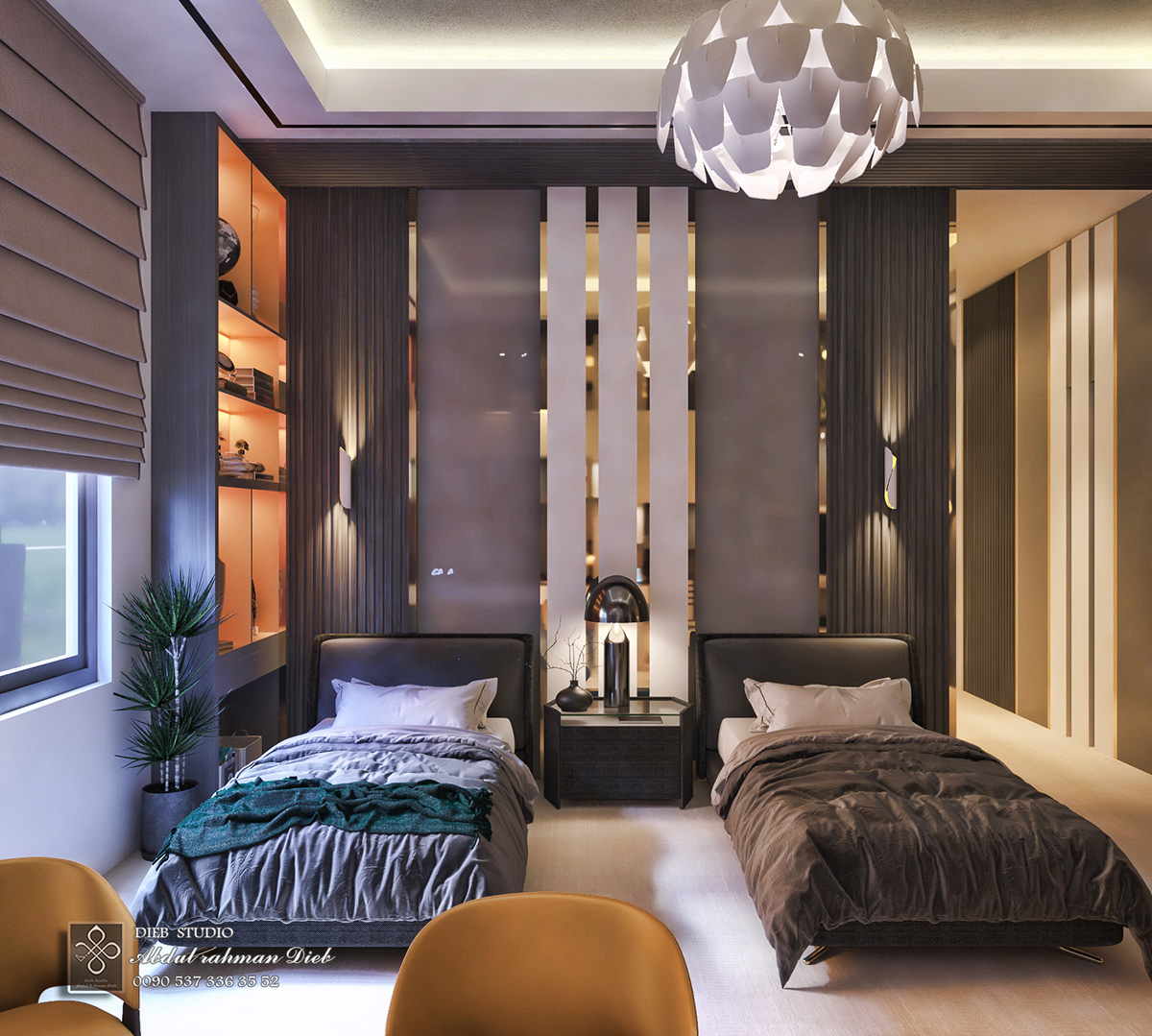 Bedroom In Contemporary Style On Behance: Twin Bedroom Modern Style On Behance