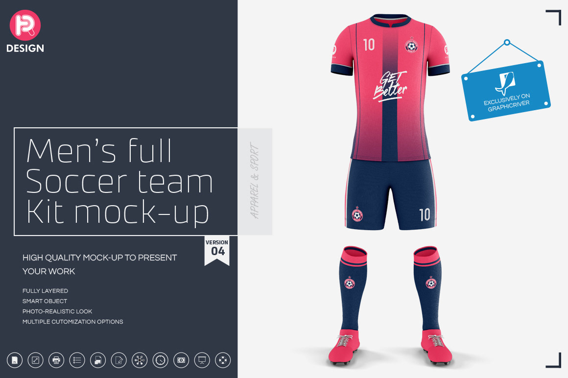 Men's Full Soccer Team Kit mockup V4 on Behance