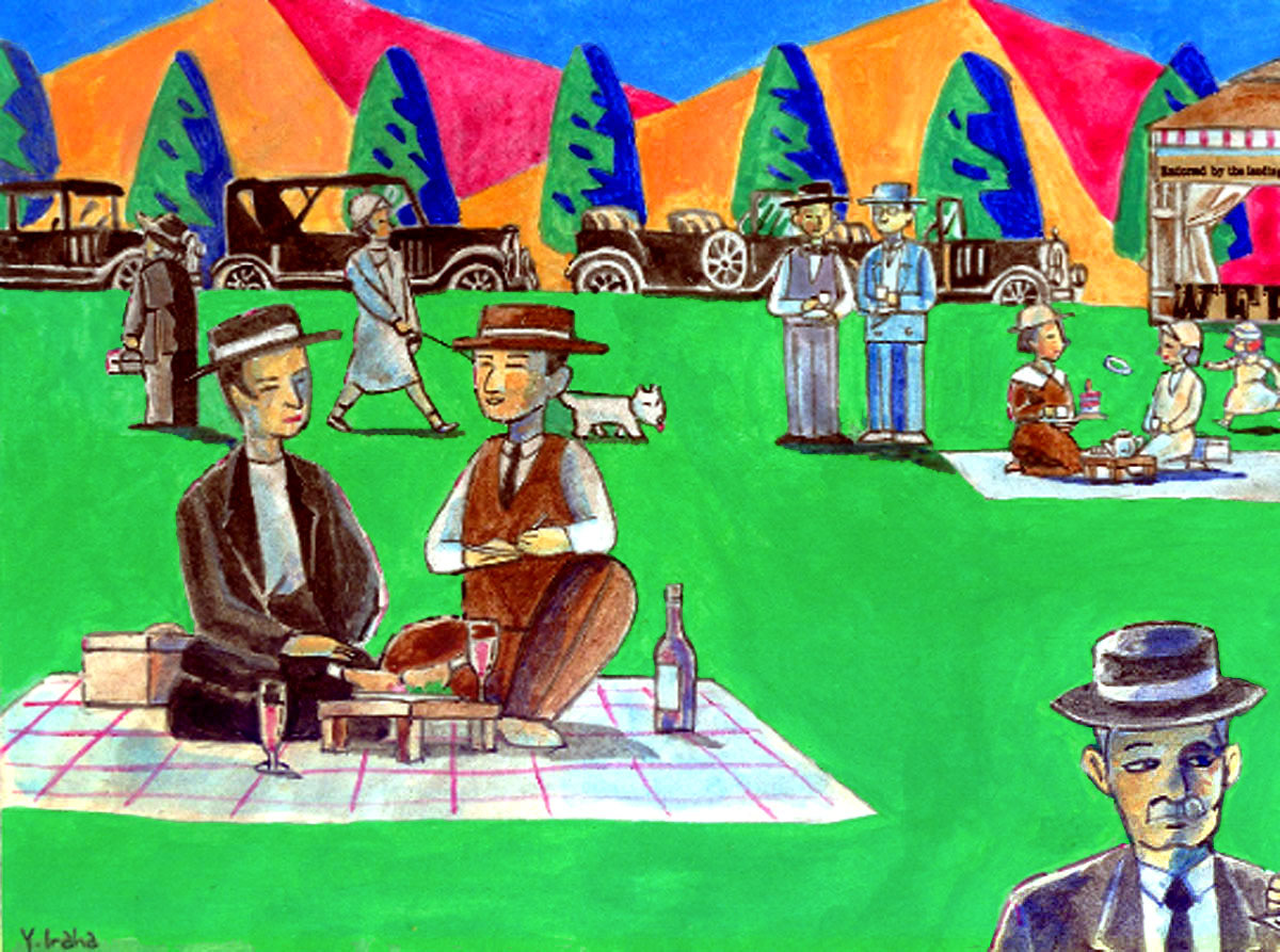 Yukio Kevin Iraha illustration of outing in picnic in early 20th century style.