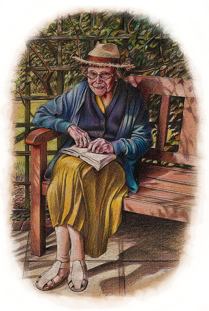Old woman reading in her garden - coloured pencils