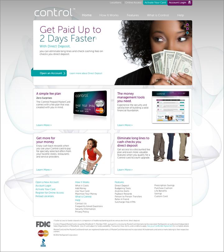 the control card home page - Control Prepaid Card