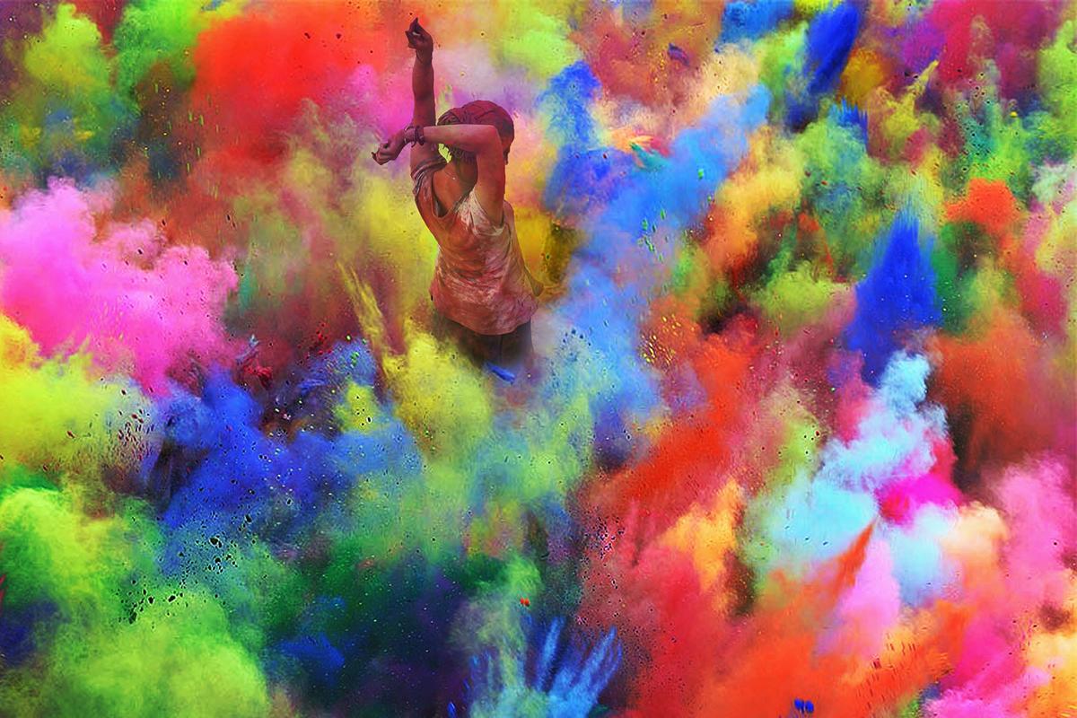 India holi color dust photo holy festival