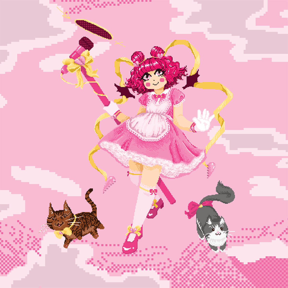 pixel art illustration of magical girl, pink dress, hear, shoes; yellow ribbons; two cats