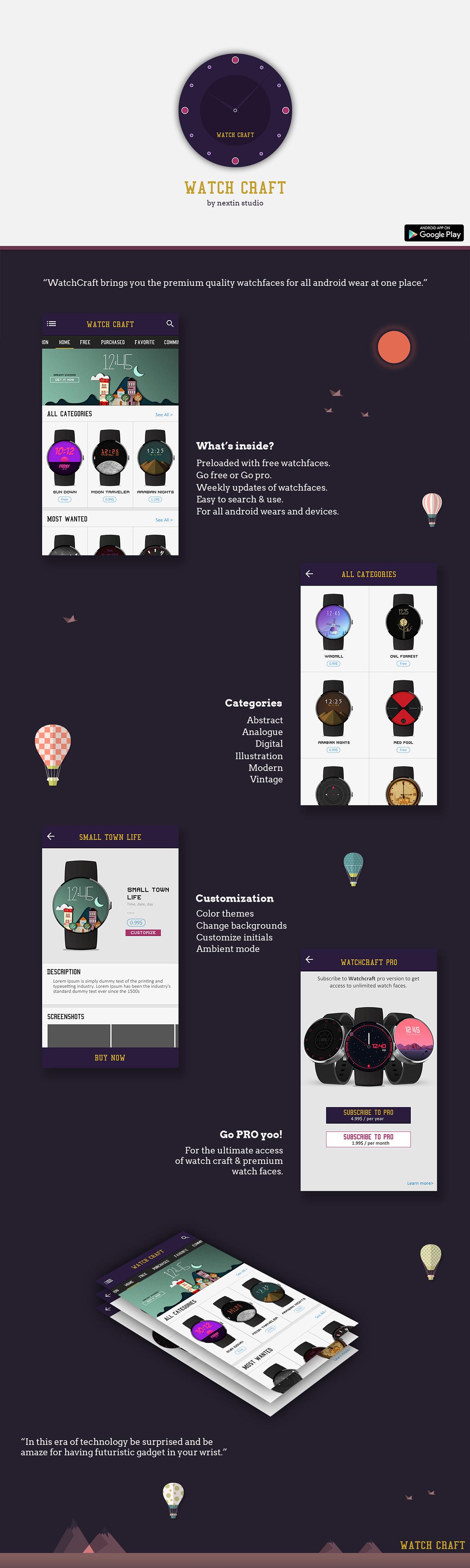 nextin watch Watchfaces AndroidWear ILLUSTRATION  THEMES designs smart watch smart wear app design