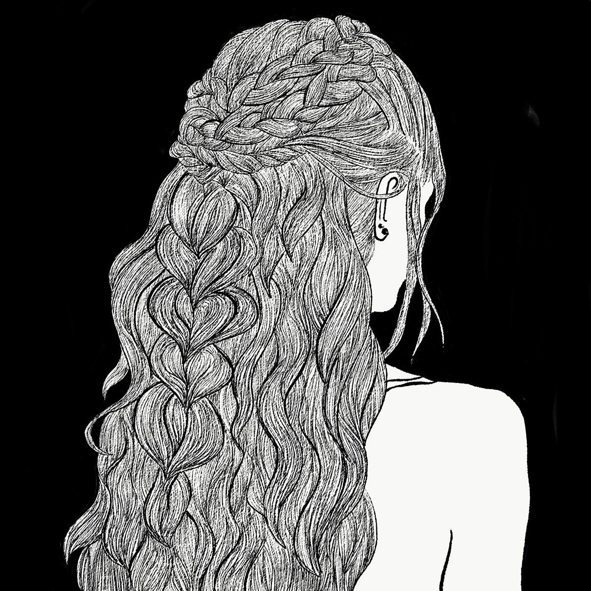 black and white braids detail Drawing  hair ILLUSTRATION  iraswatimanish line art line drawing