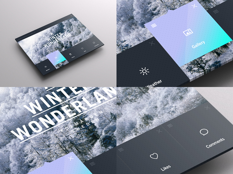 portal winter UI weather dashboard pattern weather app weather Ocean forest gradient ux Interface Web iso8 iso7