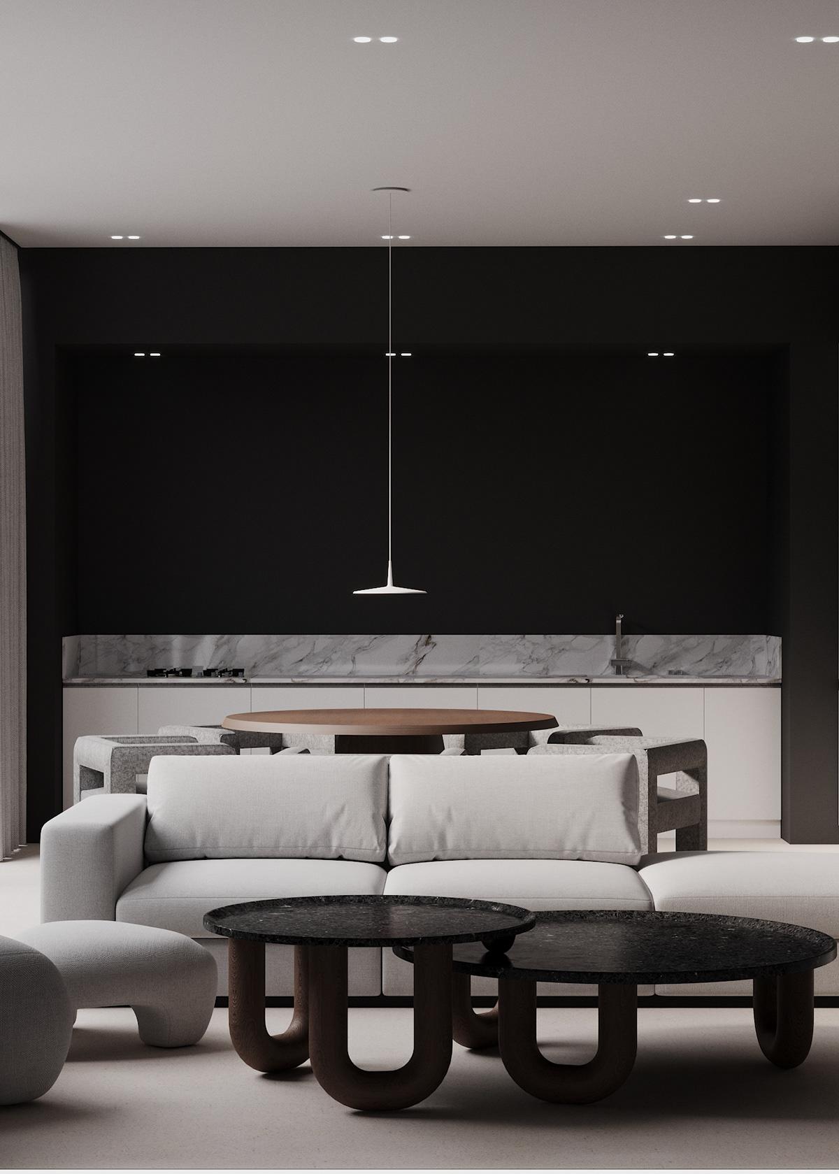 contemporary design Dark interior design design interior kitchen design minimalism design Minimalism interior Modern Design Render wood