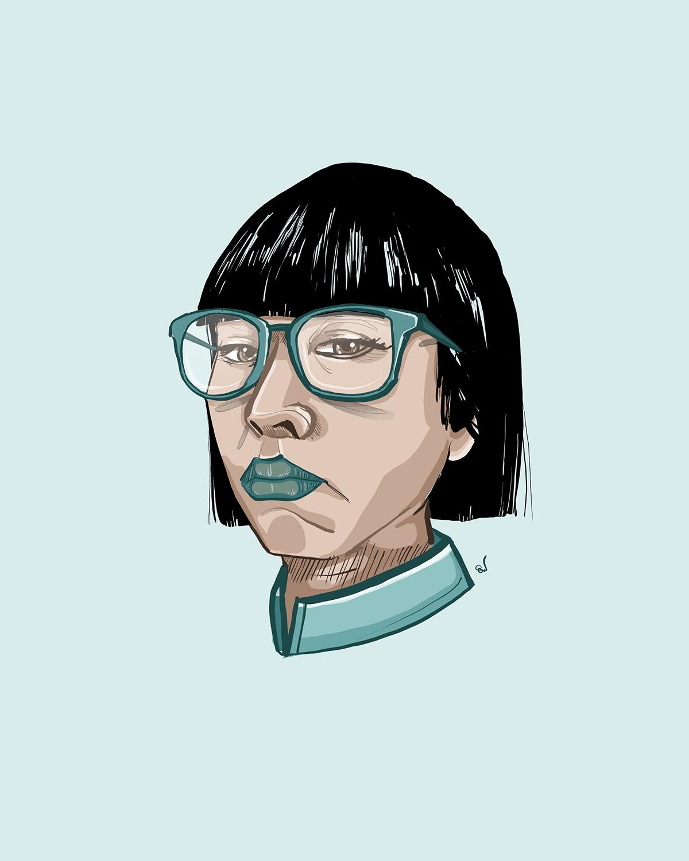 Woman in green glasses looking quietly arrogant