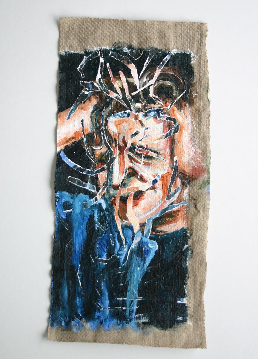 acrylic linen canvas figurative anatomy body Human Body death Disease medical history insanity mental illness five blue marks