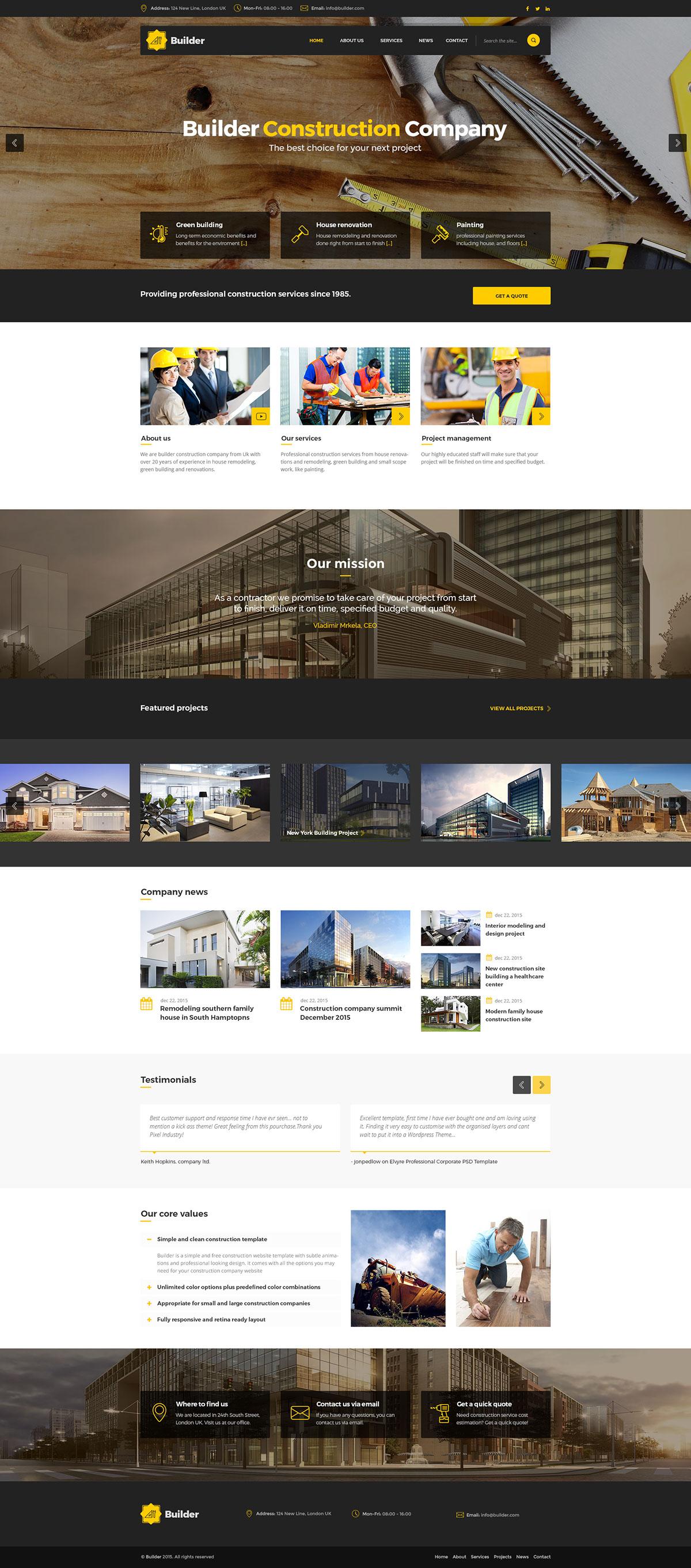 Builder - Construction HTML Template on Behance