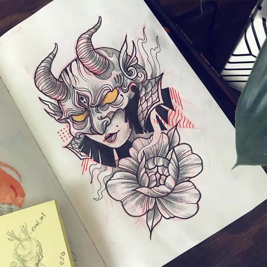 sketch tattoo face snake tiger wolf peony rose flower beauty