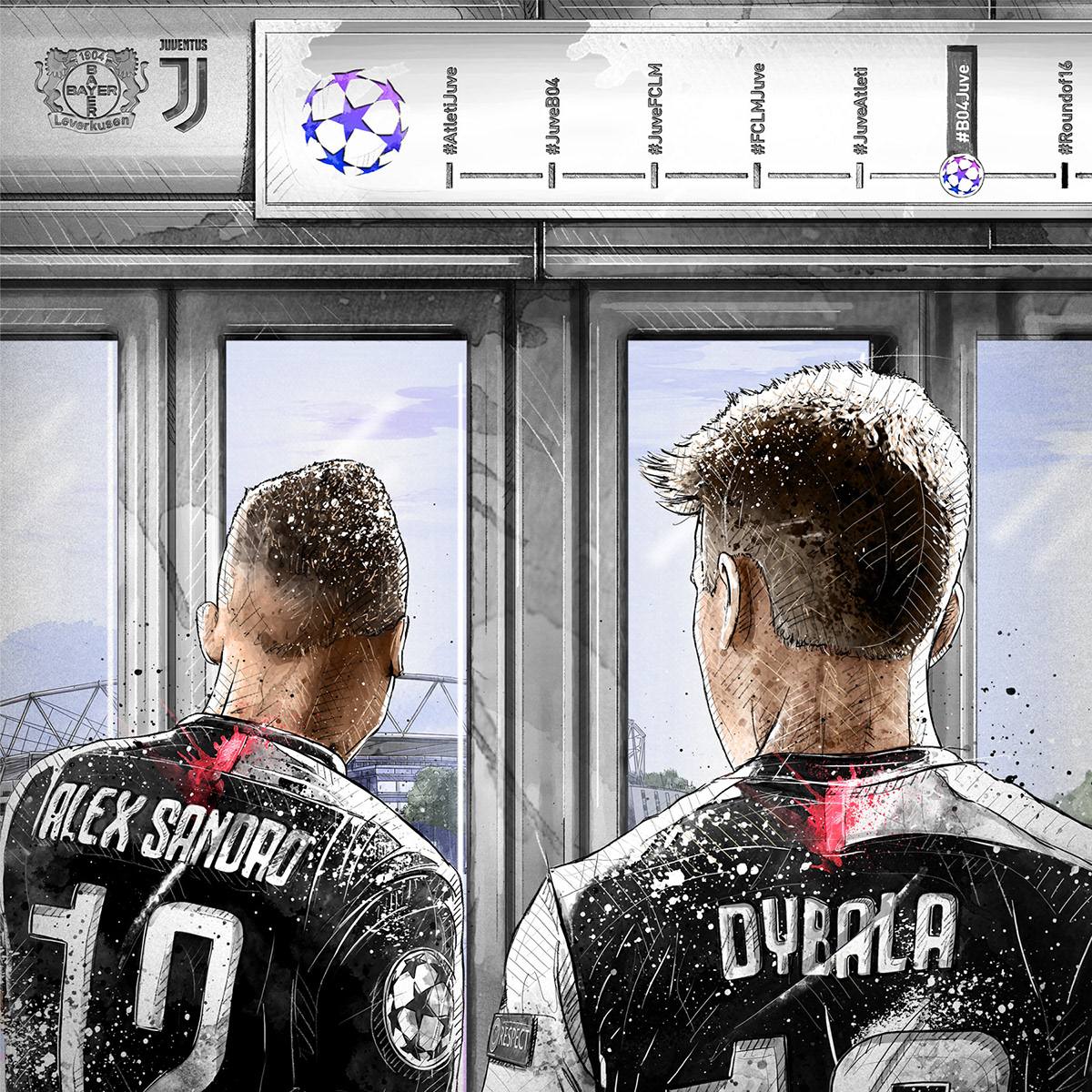 Dynamic sport/football illustration for Juventus vs. Bayer 04 Leverkusen: Dybala, Alex Sandro