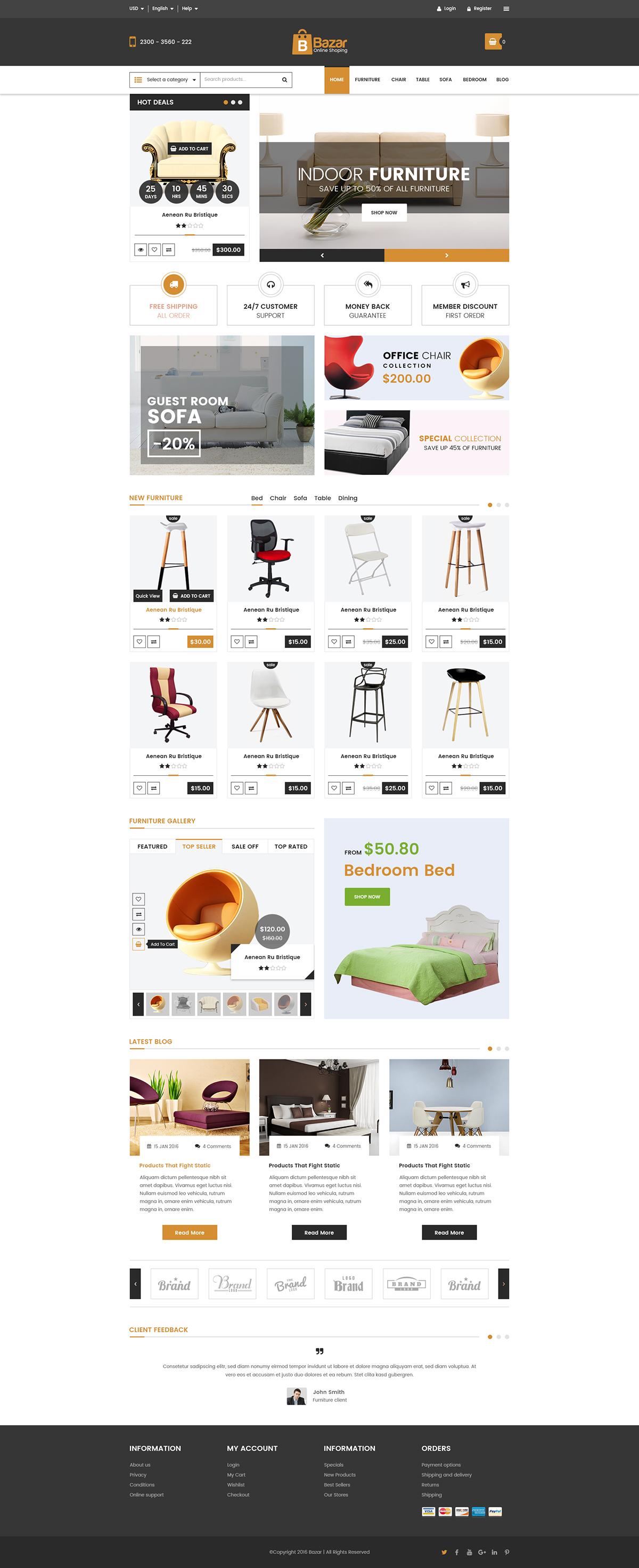 Bazar E-Commerce Free PSD Template on Behance