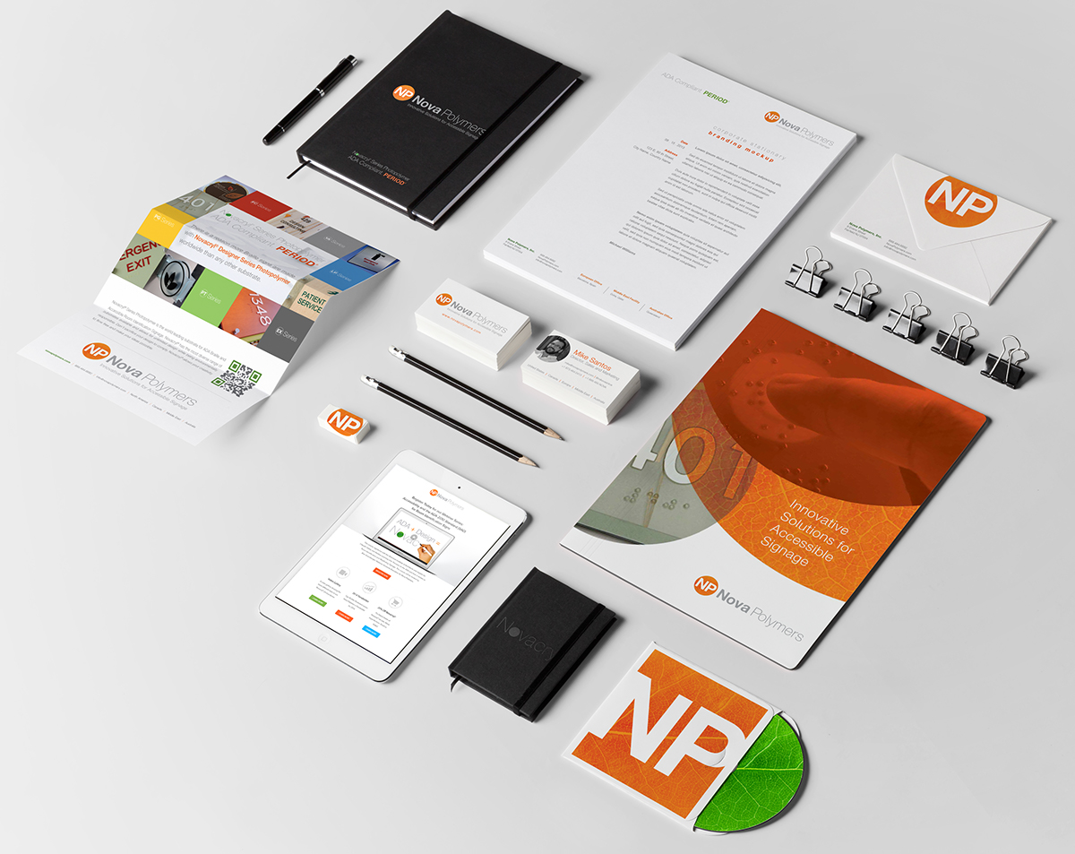 Nova Polymers Brand redesign on marketing collateral