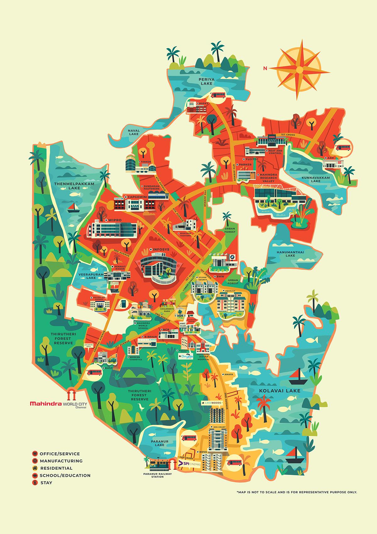 Mahindra world city map illustration on scad portfolios pins details map details gumiabroncs Images