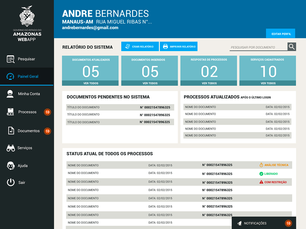Web design UI ux gestão sistemas Controle monitoramento