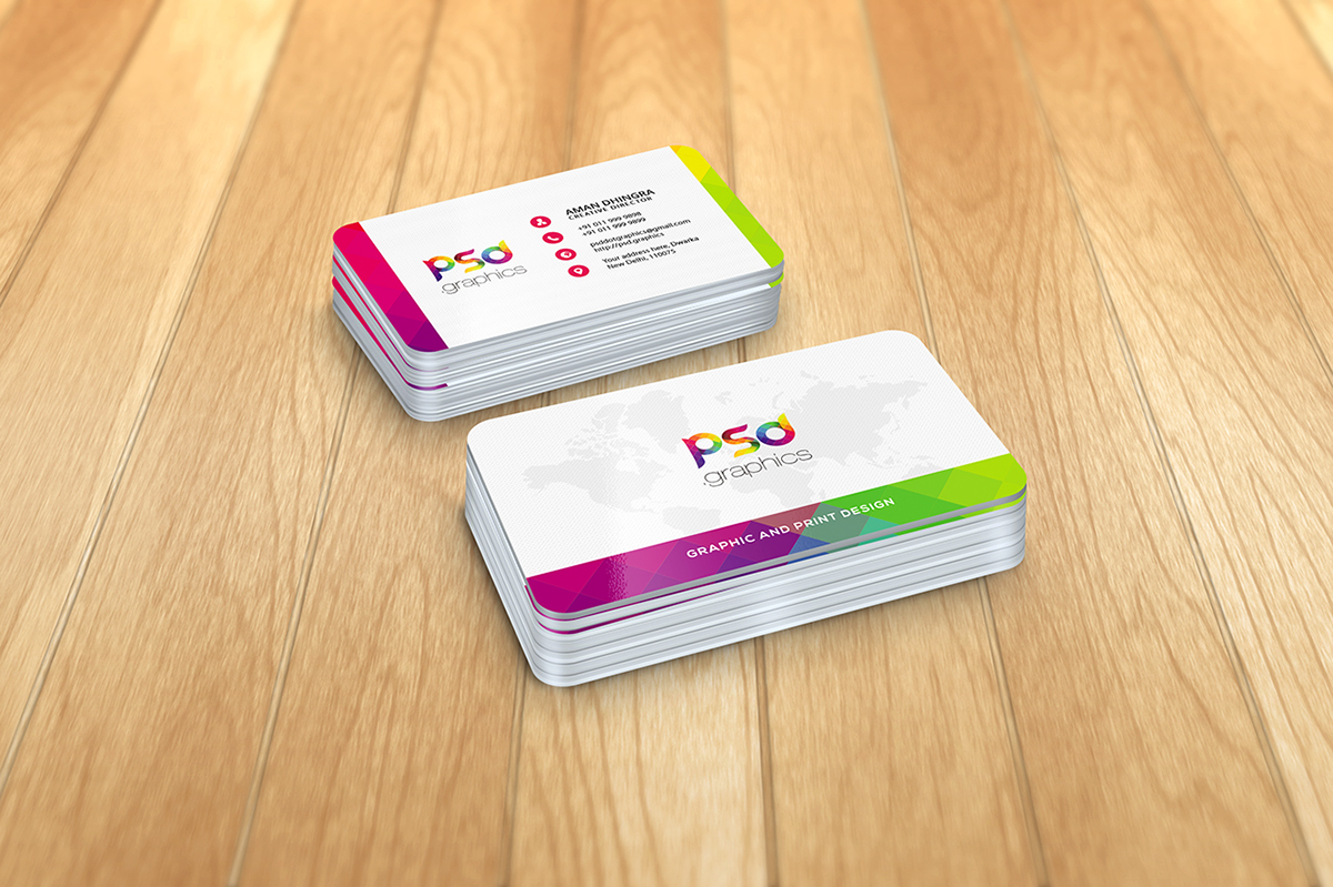 Rounded Corner Business Card Mockup Free PSD Graphics on