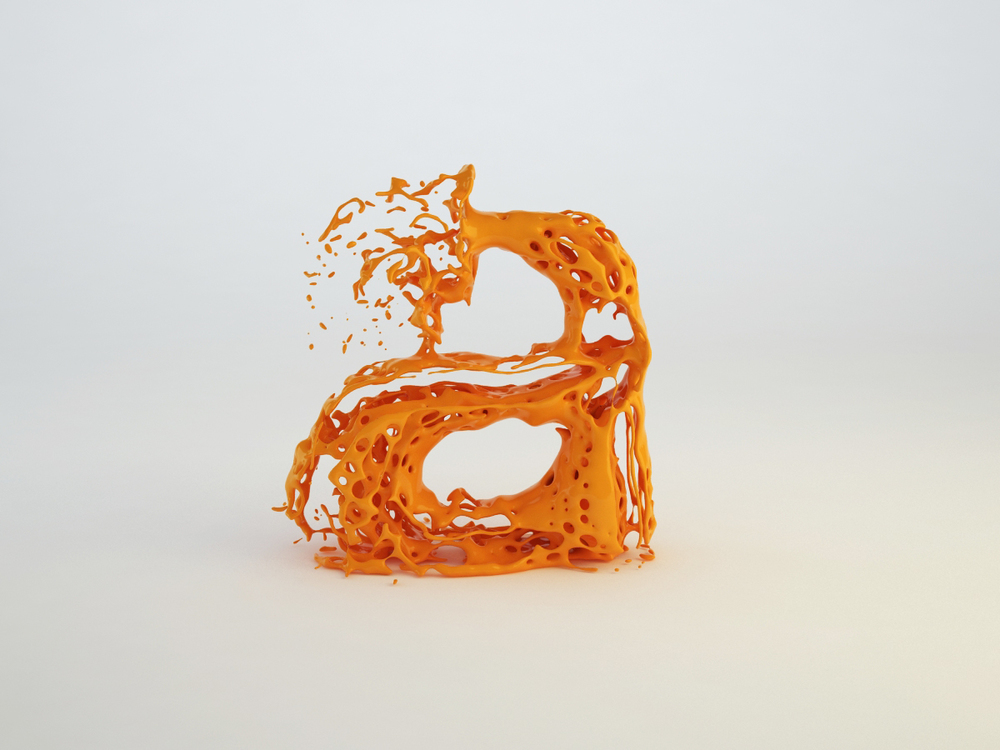 3D type realflow Real flow letters splash Liquid fluid water paint Almossawi Bahrain Skyrill