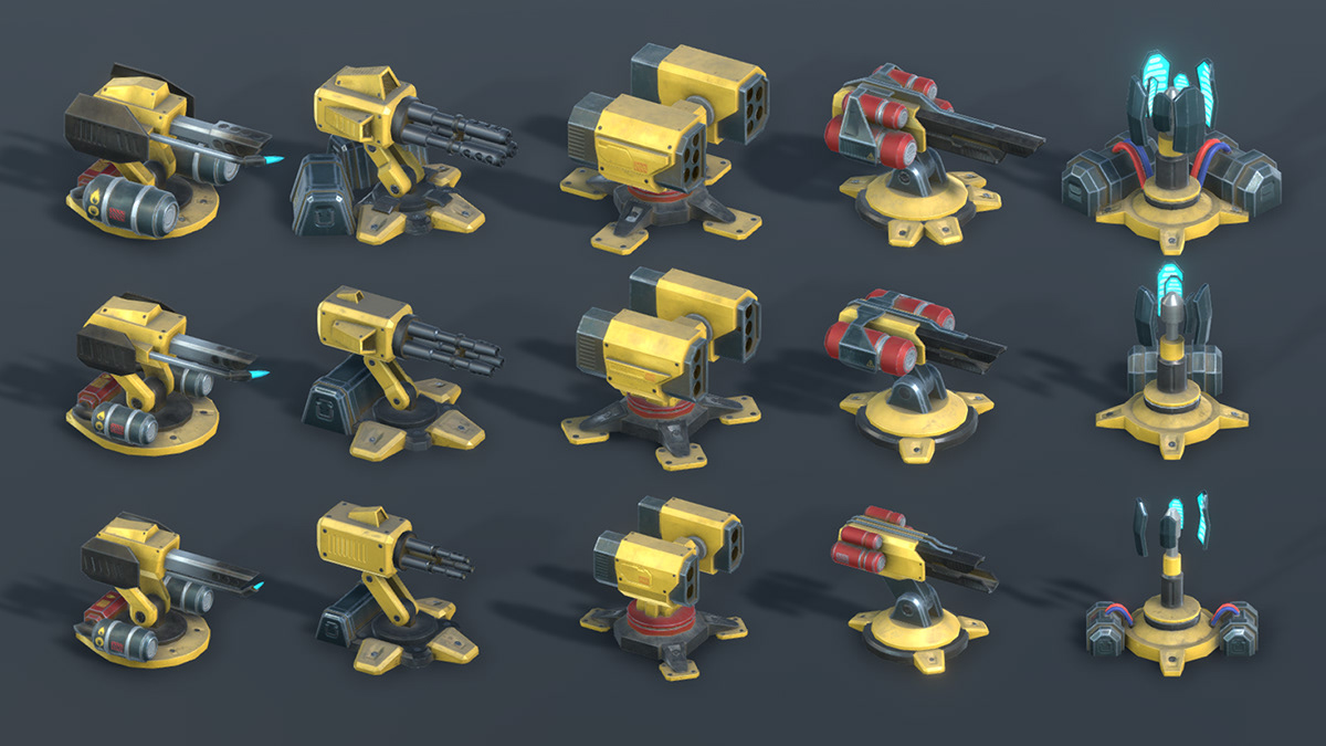 Low Poly PBR Tower Defence Kit on Behance