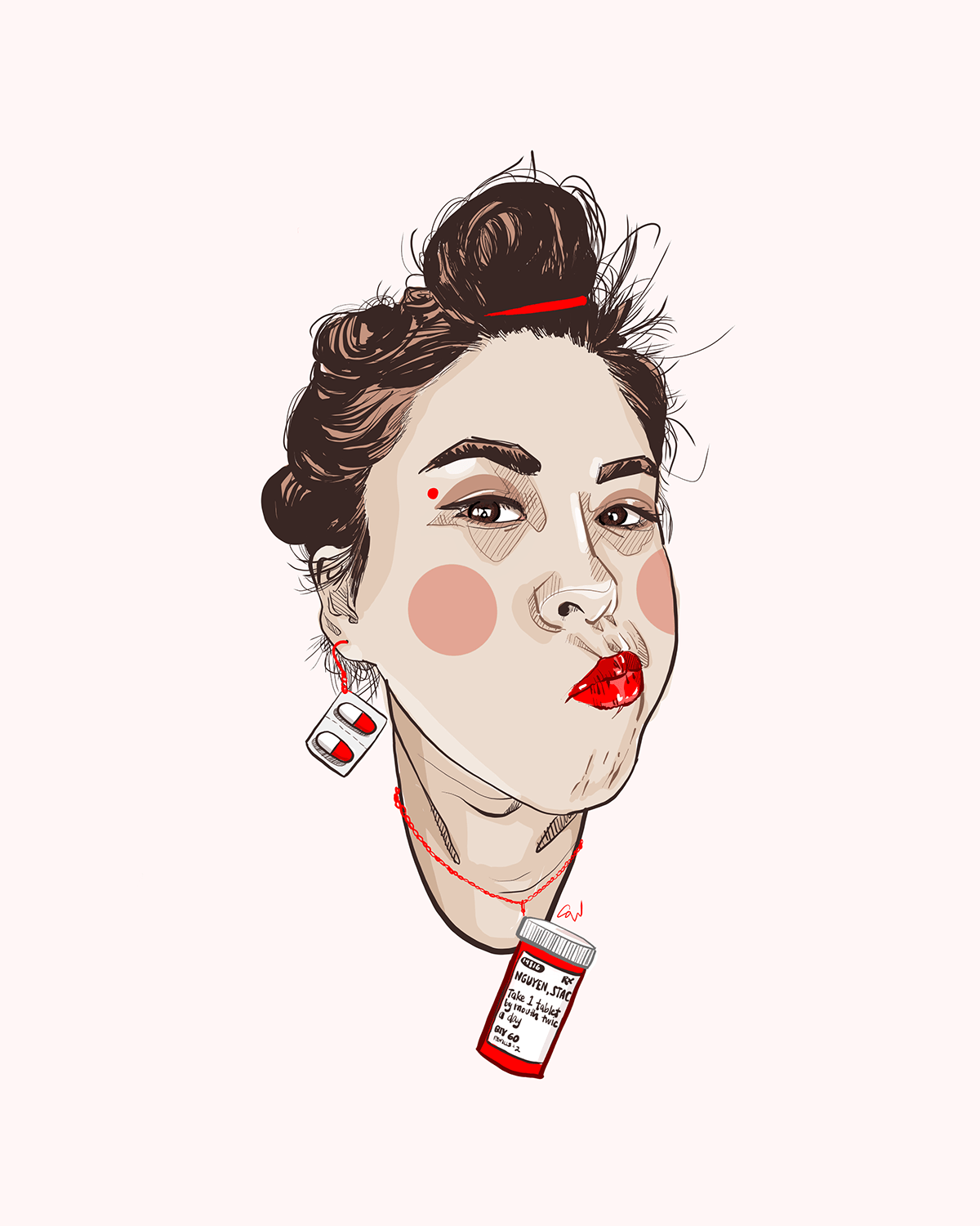 Self Portrait of Vietnamese American woman with red lipstick
