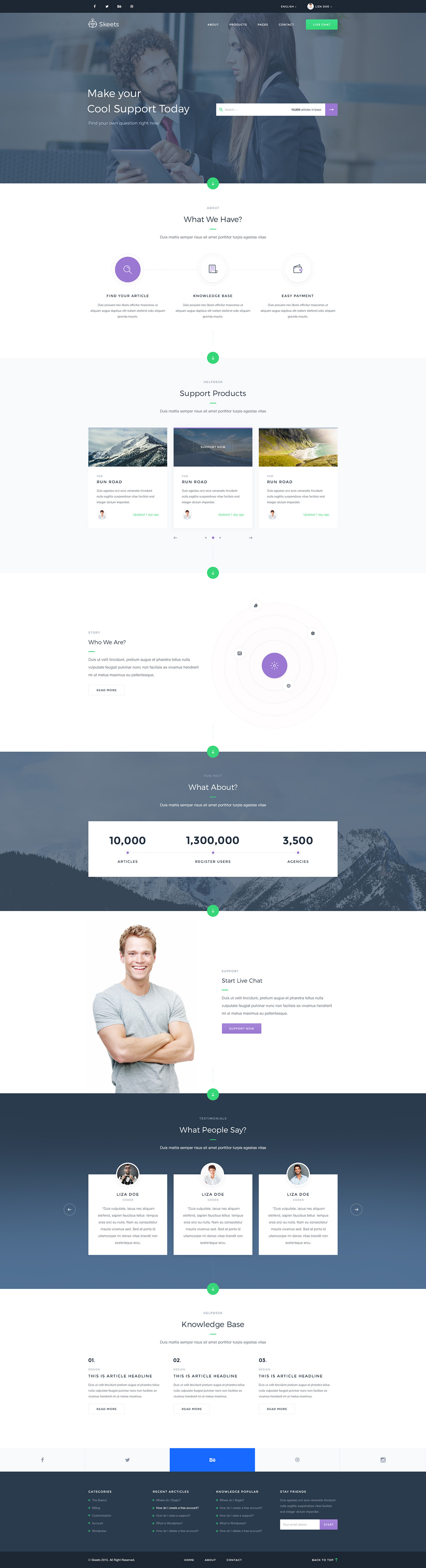 Skeets — Helpdesk and Knowledge Base PSD Template on Behance