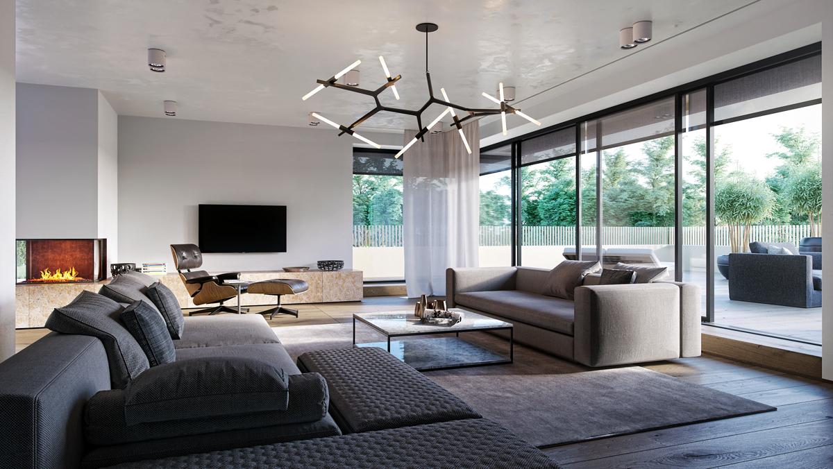 Interior visualization of a Bauhaus-Villa on Behance
