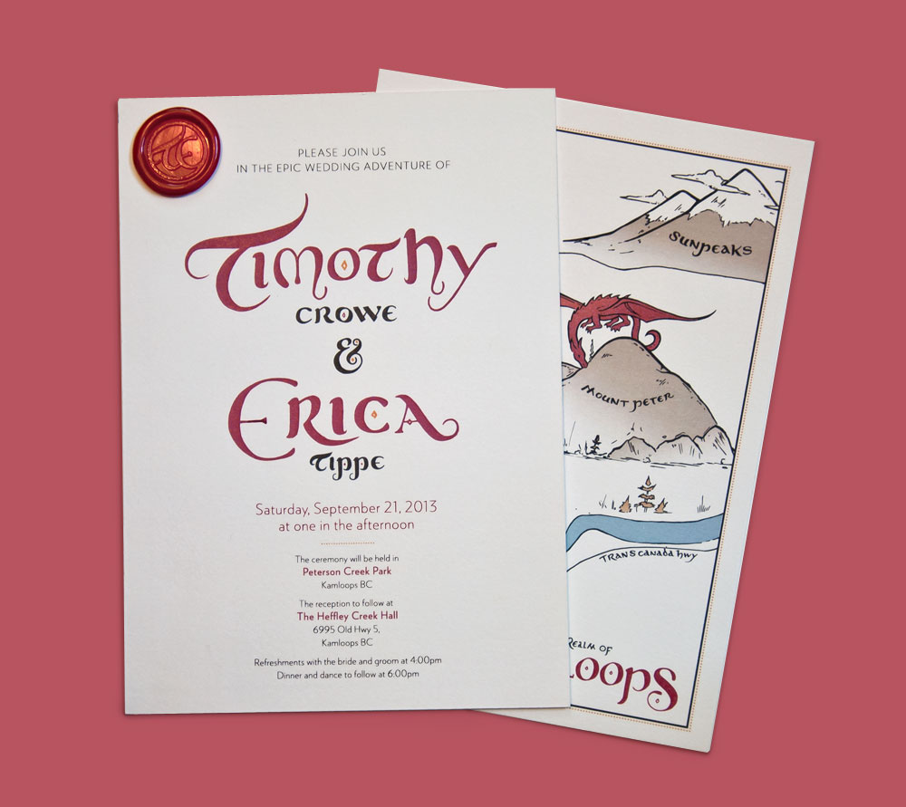 create a themed wedding invitation package the brief was to create invitations that balanced medieval and fantasy imagery with elegance and simplicity - Medieval Wedding Invitations