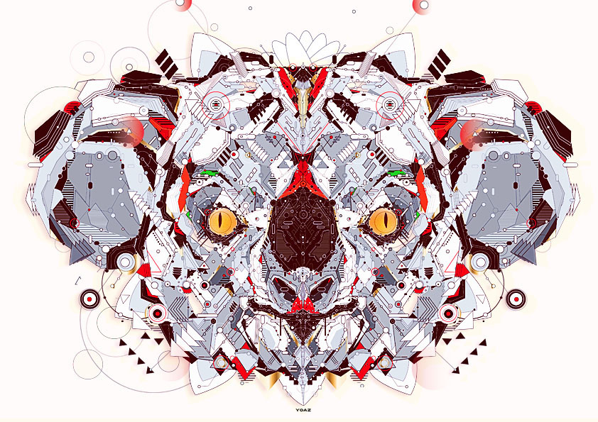 yoaz electro animals vector yo az Rosas Mandala Illustrator tigre giraphe husky lemurien LAMA monkey koala