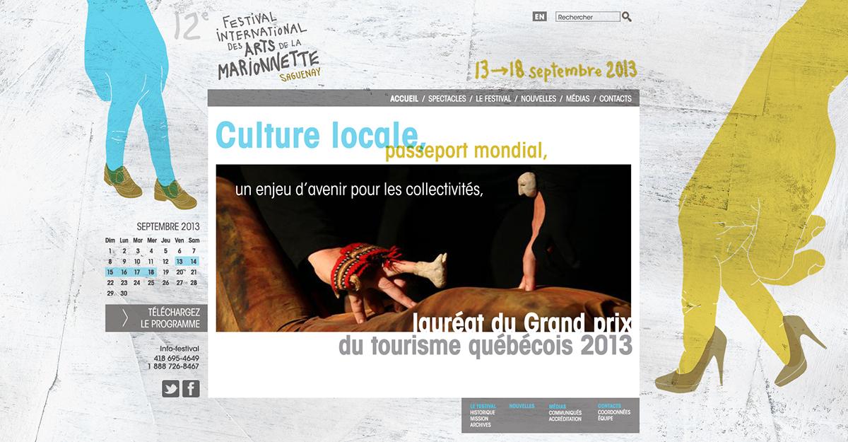 puppet festival Event walking hands shoes papier-mâché Marionnettes saguenay
