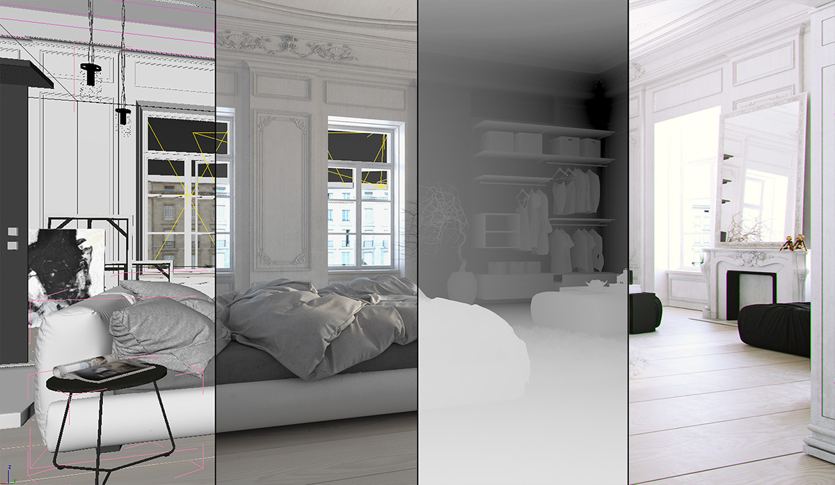 modern Interior modern interior digital cloth bed bedroom