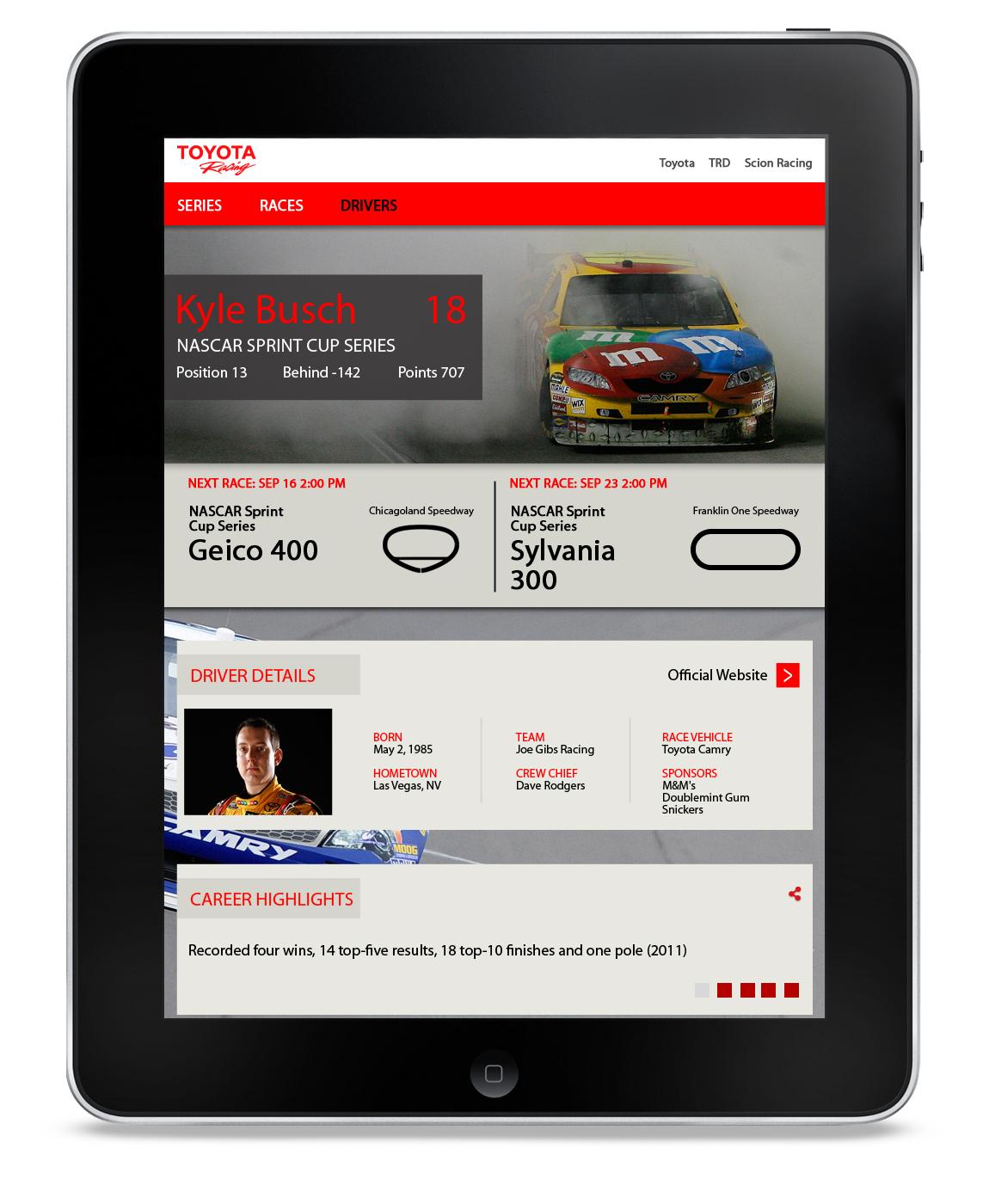 redesign  racing interactive UI