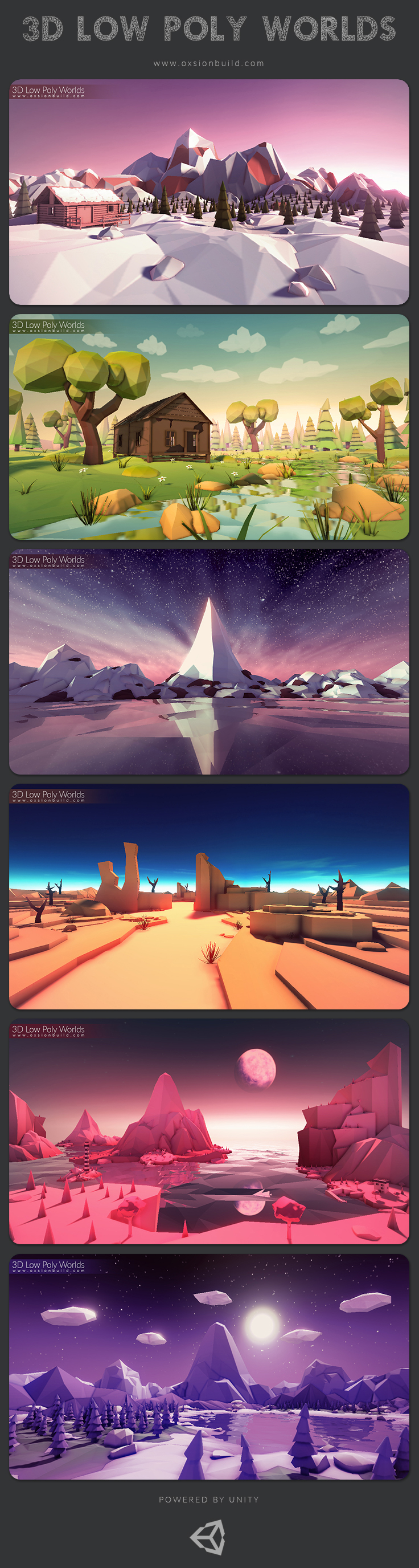 3D Low Poly worlds stylized landspace environment