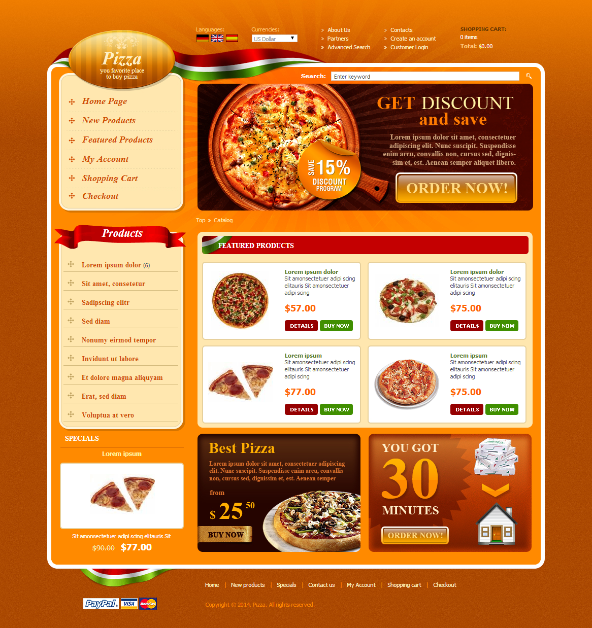 Pizza store osCommerce Template on Behance