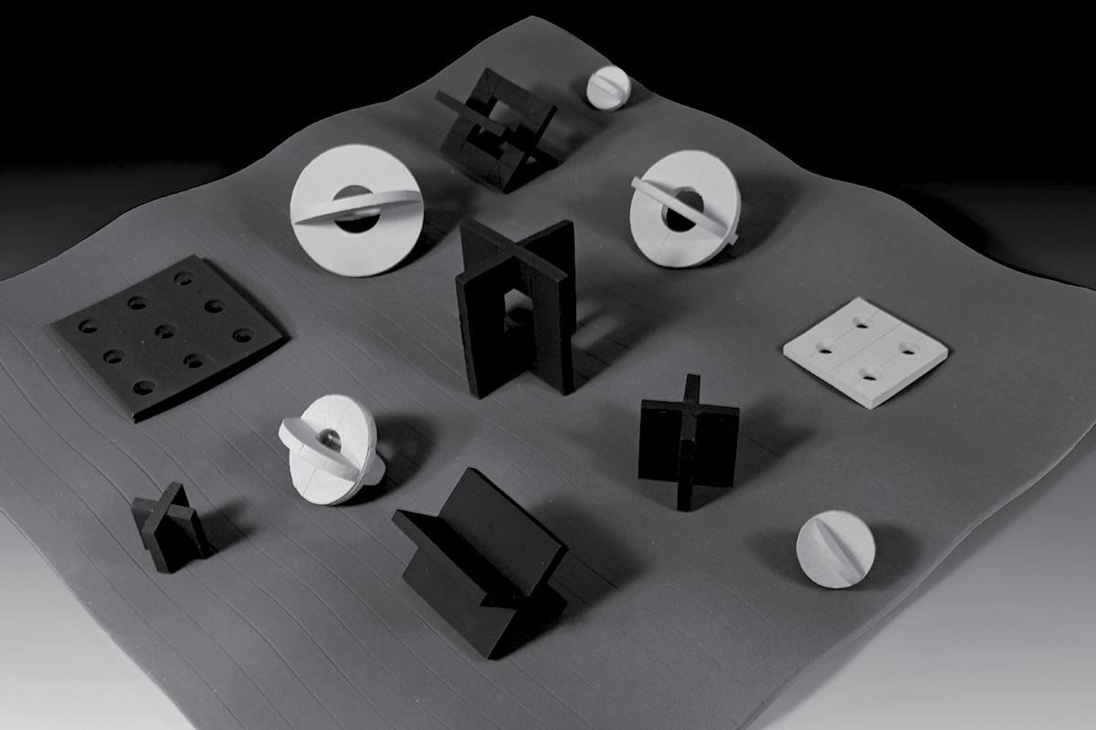 ceramic sculpture abstract sculpture slab build Marek Jacisin Harvard Ceramics Program stoneware iron oxide AMACO underglazes