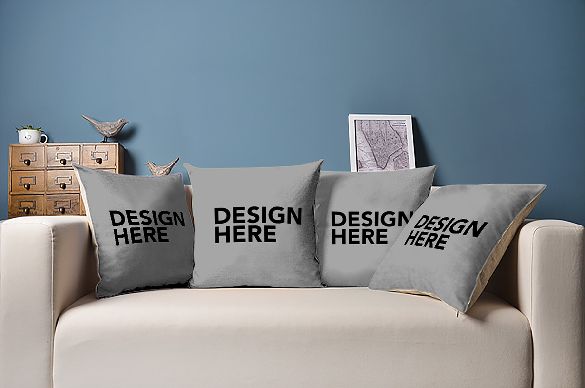 4 pillows on couch mockup on behance