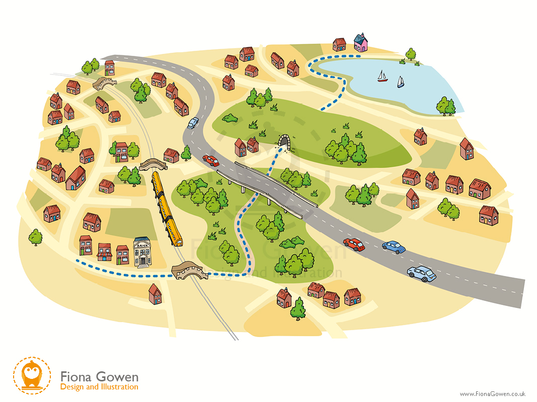 Town map illustration by map illustrator Fiona Gowen.