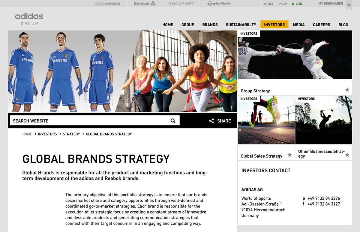 A screenshot from Adidas Group website.
