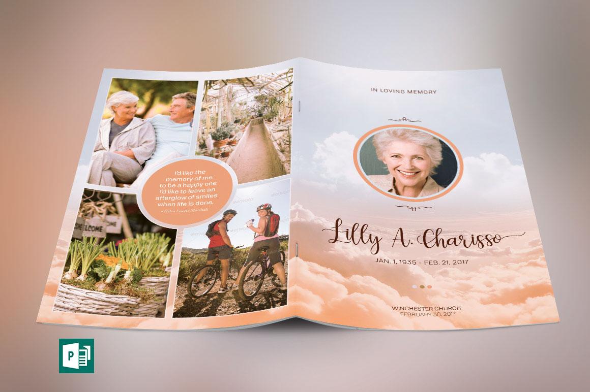 Funeral Program Templates Publisher | Heaven Funeral Program Publisher Template On Behance