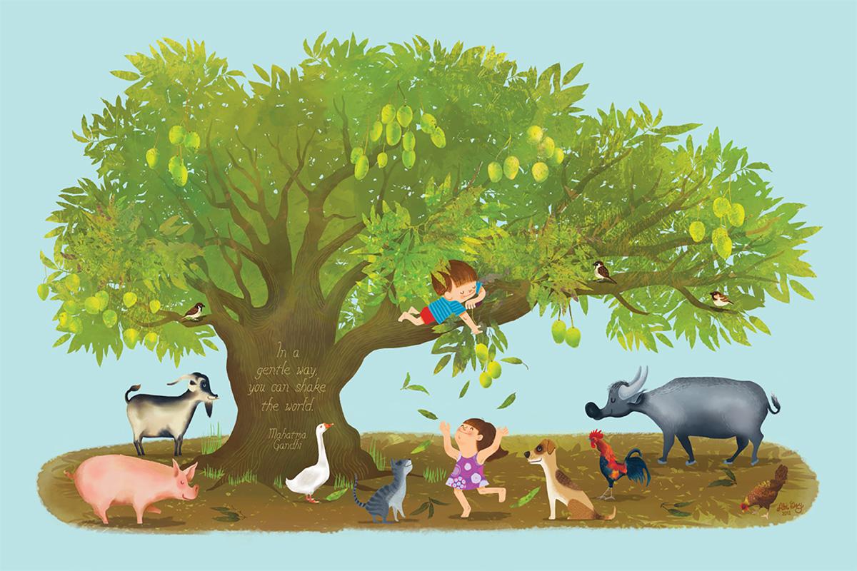 gandhi change the world gentle shake animals mango tree children