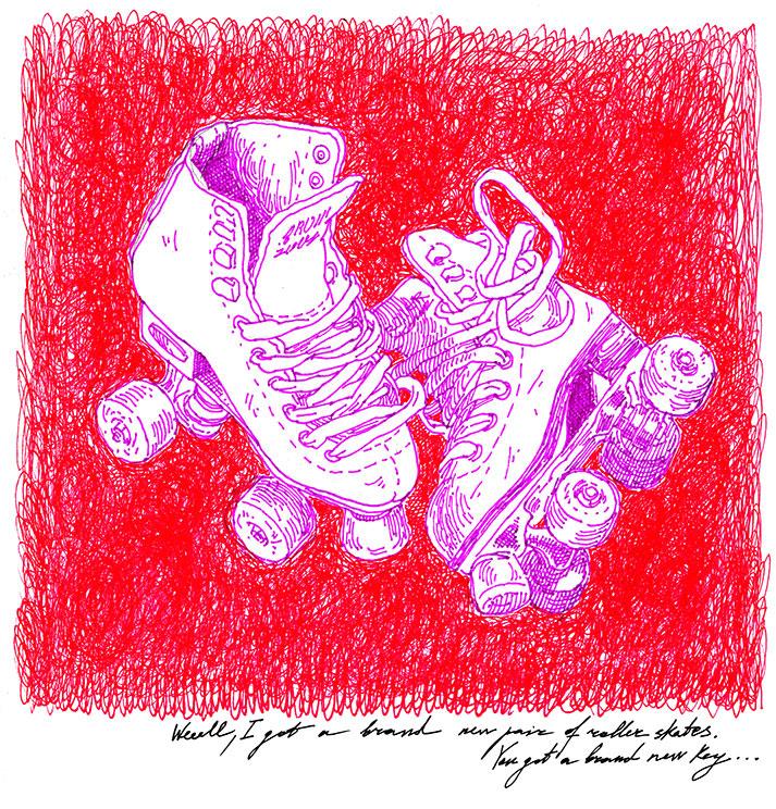 sketches markers monkeys ILLUSTRATION  cats sketchbook illustrations color rollerskates
