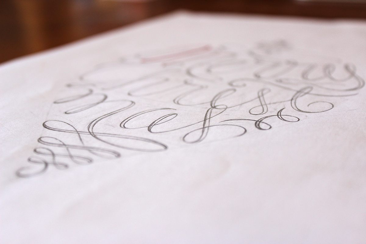 lettering Christmas gold pine