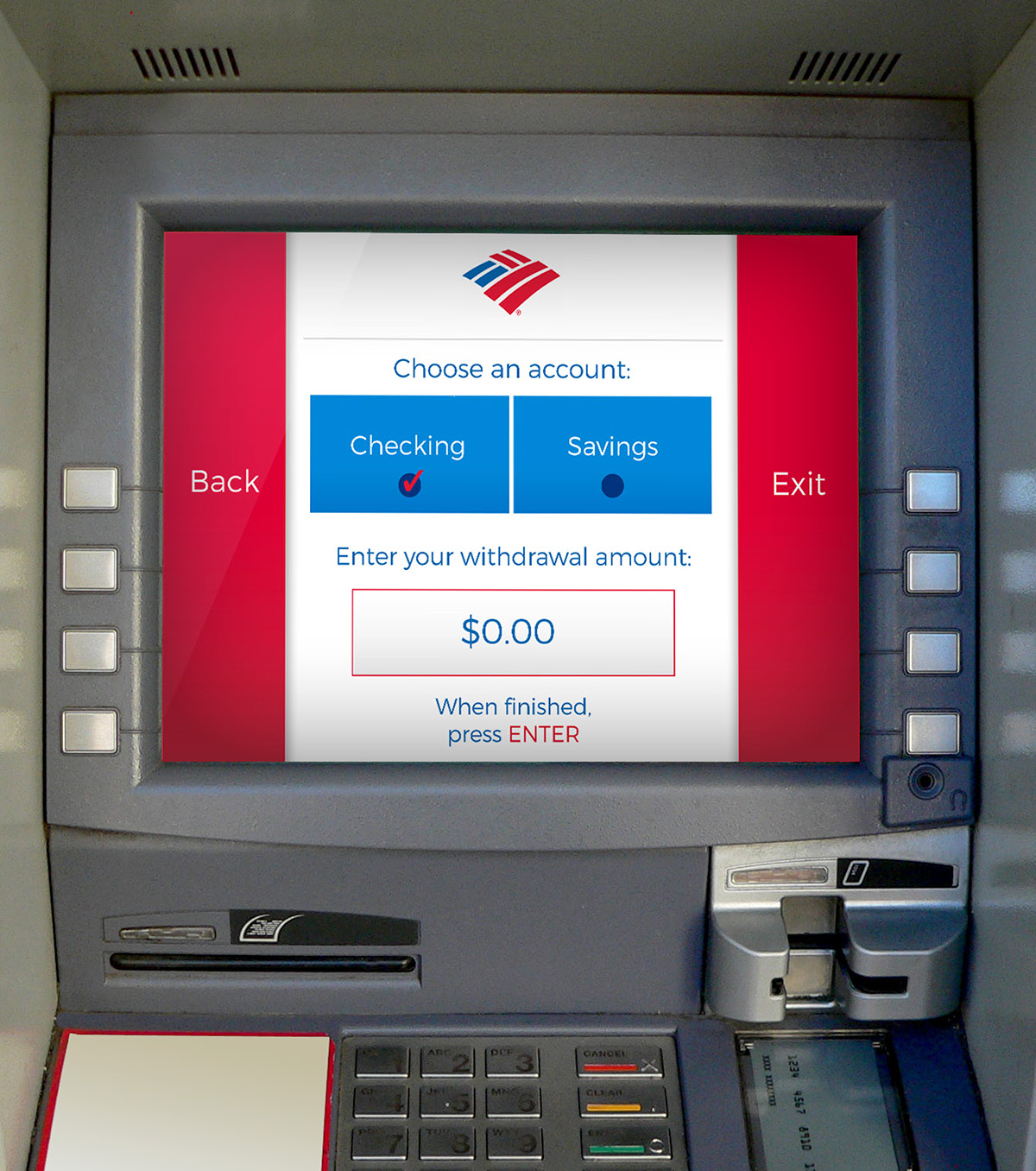 bank of america  atm interface redesign  on behance