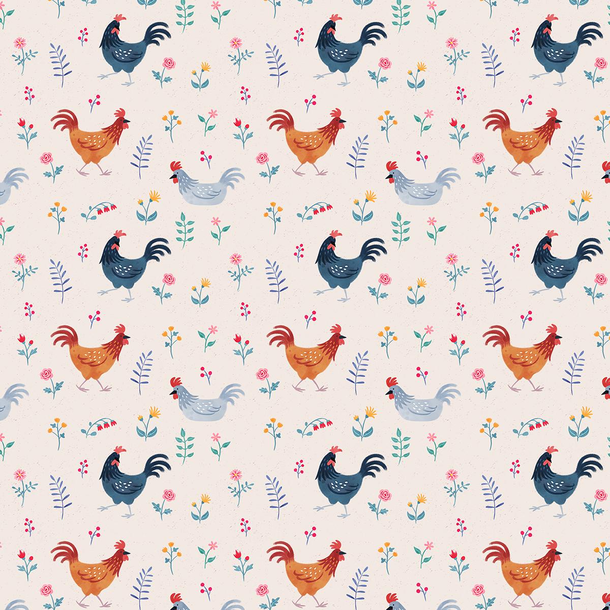 chicken Hens cute Flowers folk art animals kids children's flower