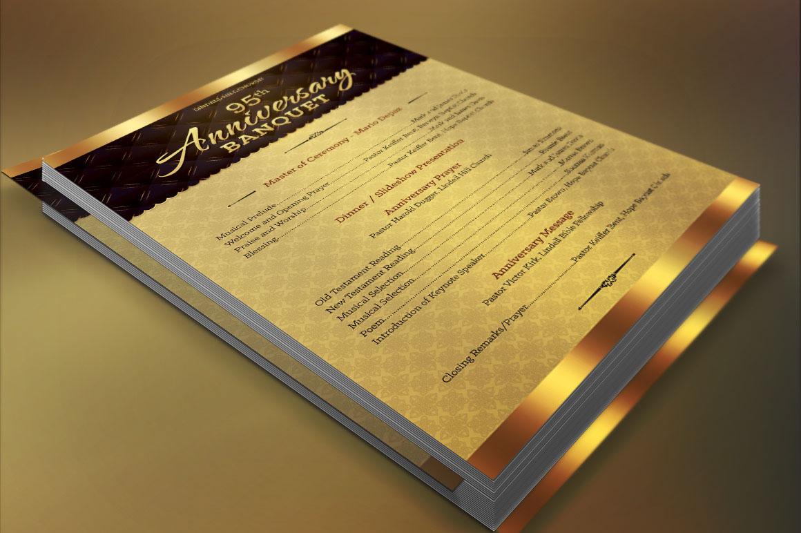 Church Anniversary One Sheet Program Template on Behance Intended For Church Program Templates Word