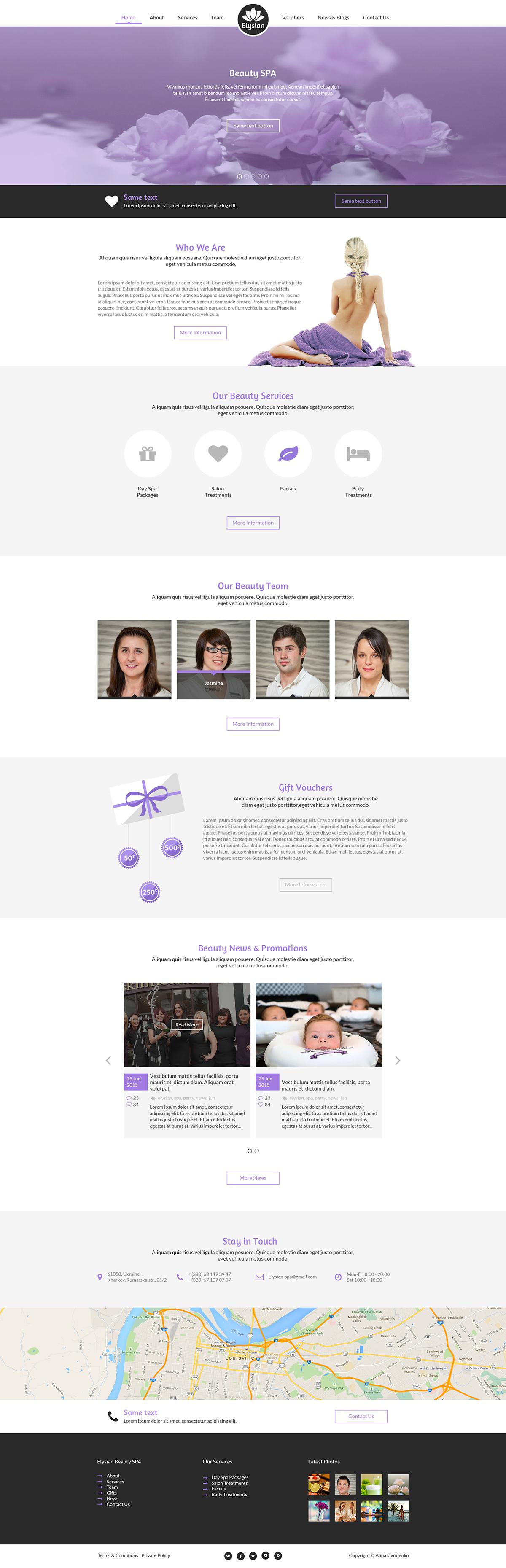 design homepage Lanfing Page beauty spa spa saloon elysian