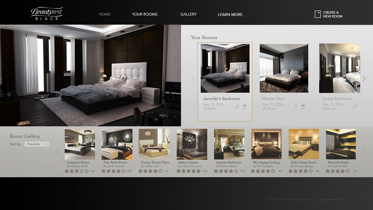 Landing Page To The Beautyrest Black Bedroom Customization Experience  Logged In Customers Can View Edit Previously