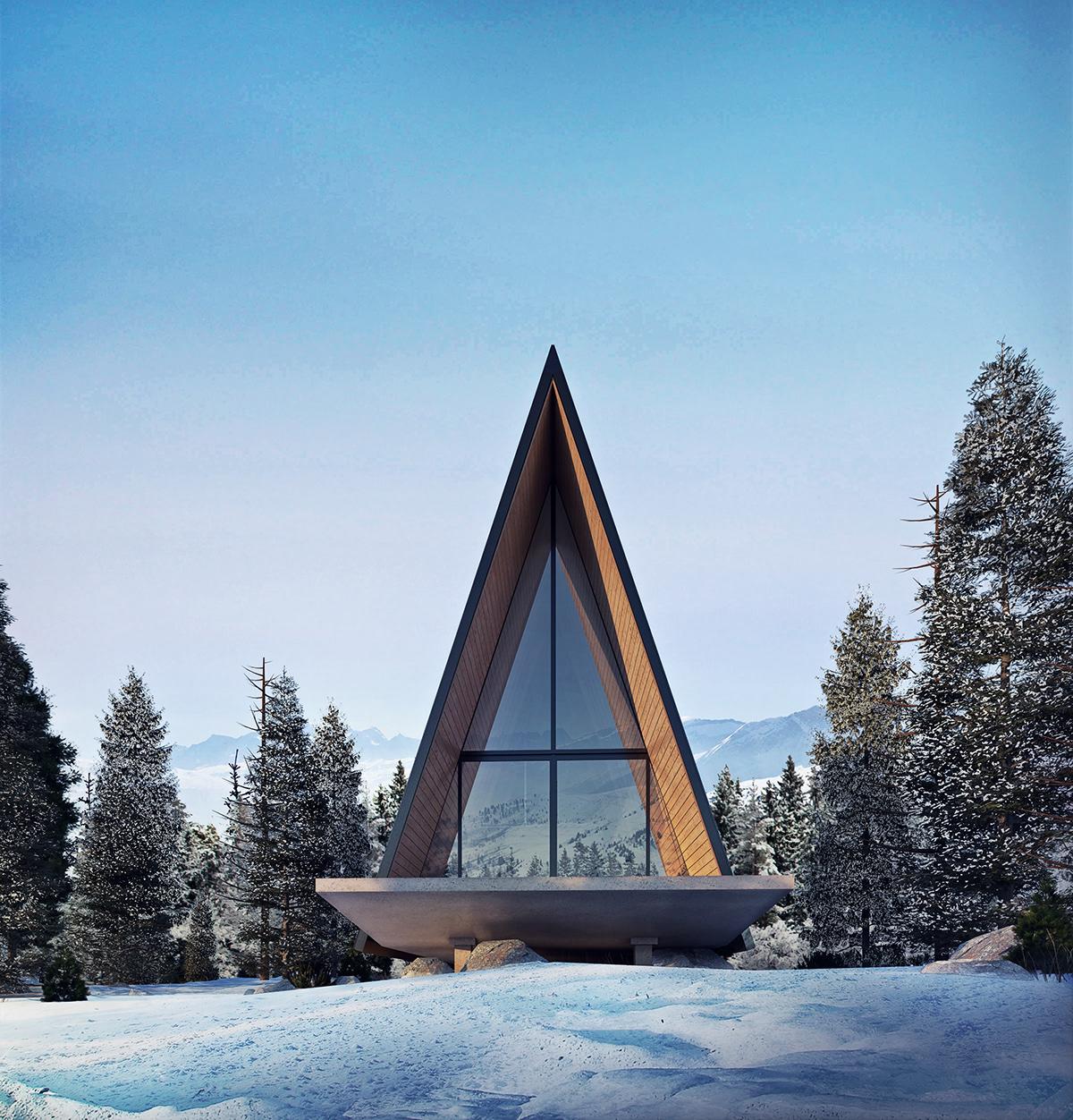 architecture archviz cabin Digital Art  modern photoshop Rednering Render SketchUP vray