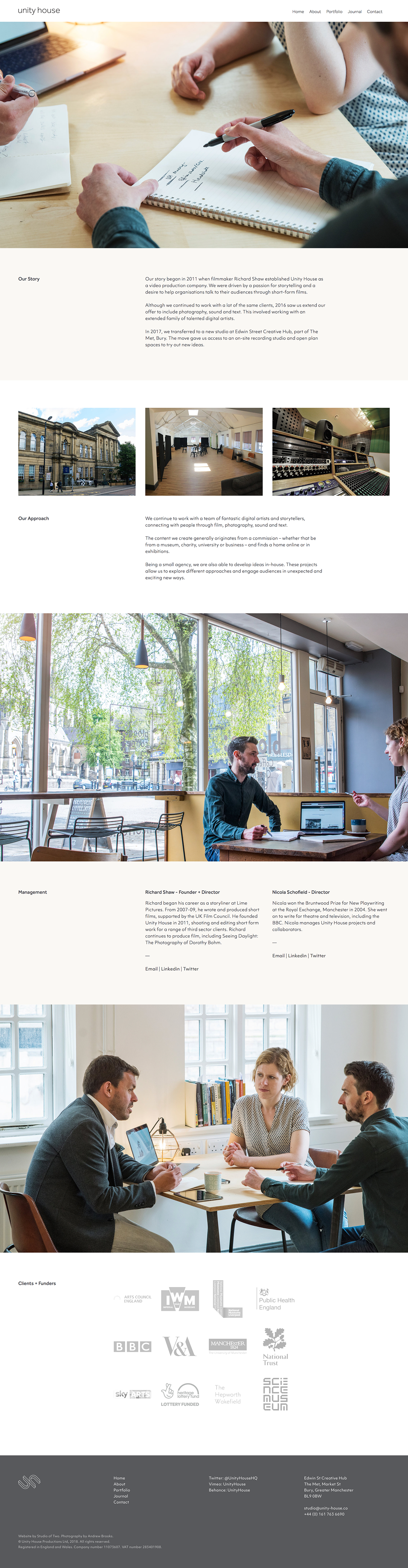 Unity House squarespace film production Story telling Website Web Design  grid based The Printer's Son