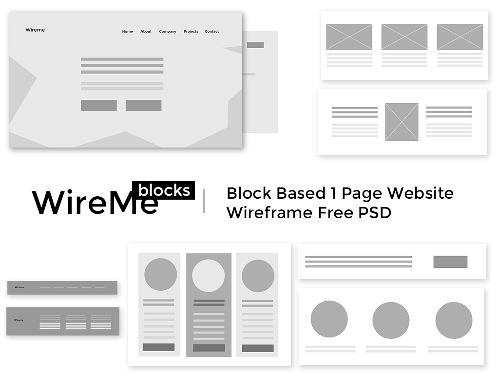 Free Website Wireframe PSD Template - Blocks on Behance