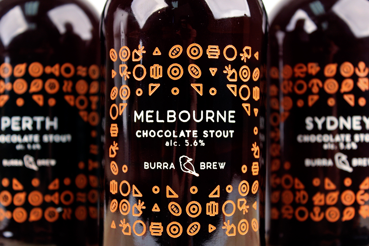 beer Icon austraila engraved bottle Label craft beer Chocolate Stout stout Melbourne sydney bird abstract alcohol beer case